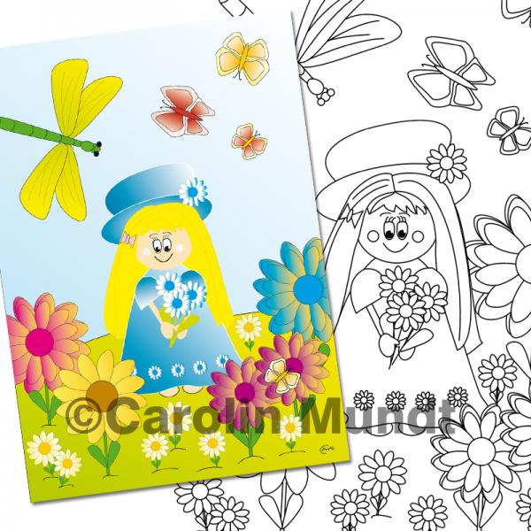 """C.Arts """"Blumenfee"""" aus dem Malbuch """"Die Jahreszeiten"""""""
