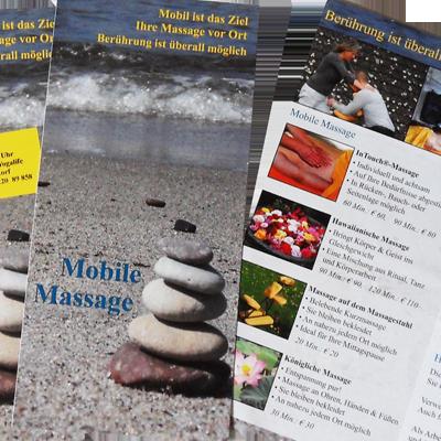 Corporate Design und Faltblatt, Existenzgründerin im Bereich Mobile Massage
